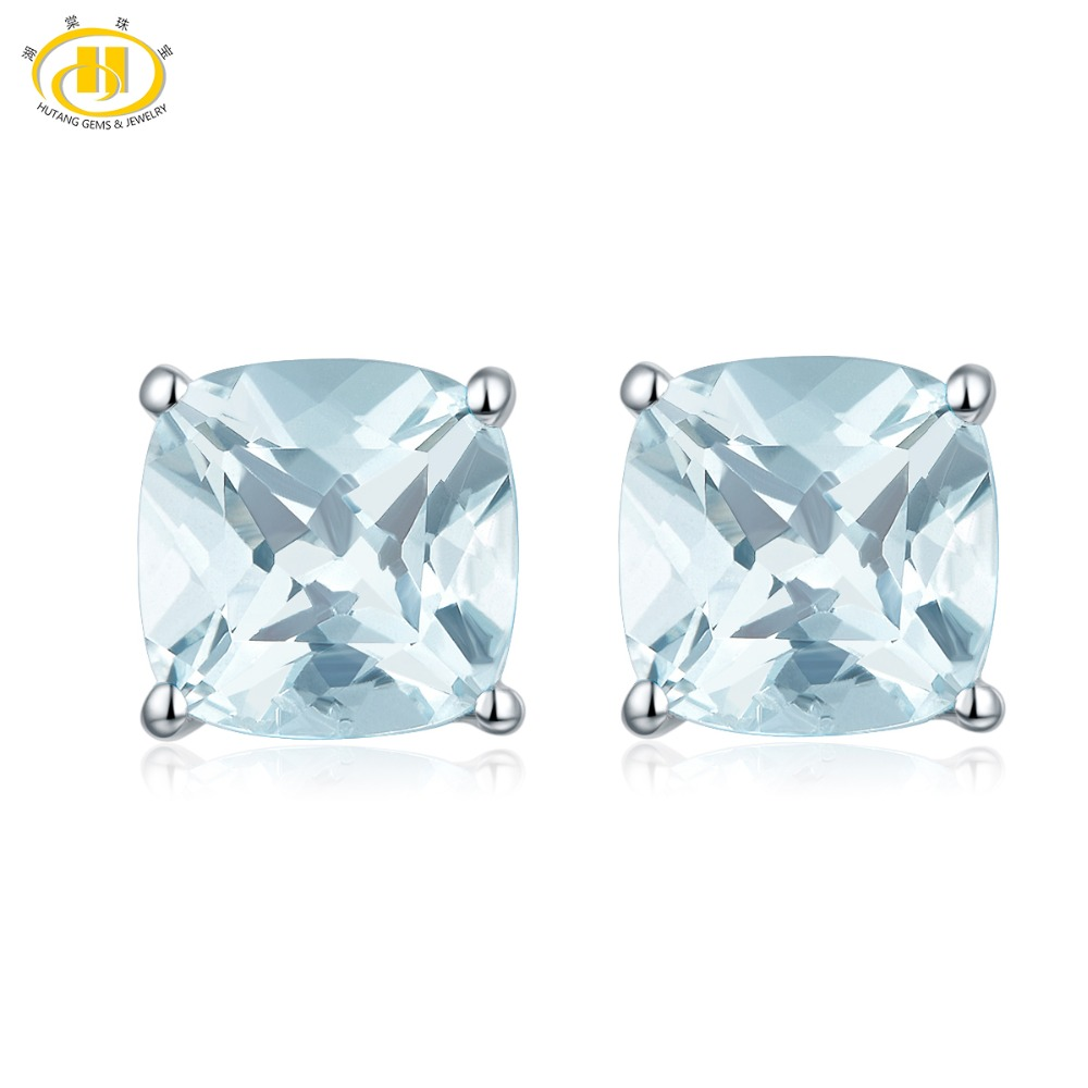 HUTANG 1 817ct Natural Aquamarine Cushion 6mm Stud Earrings Solid 925 Sterling Silver Gemstone Fine Fashion