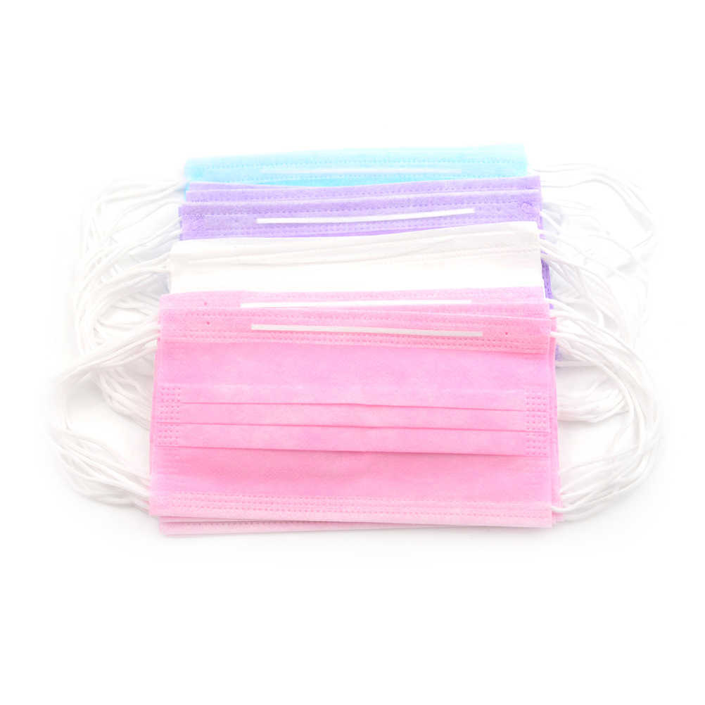 50Pcs 3-Ply Anti-Dust Disposable Surgical Medical Salon Earloop Face Mouth Masks White/Pink/Blue/Purple