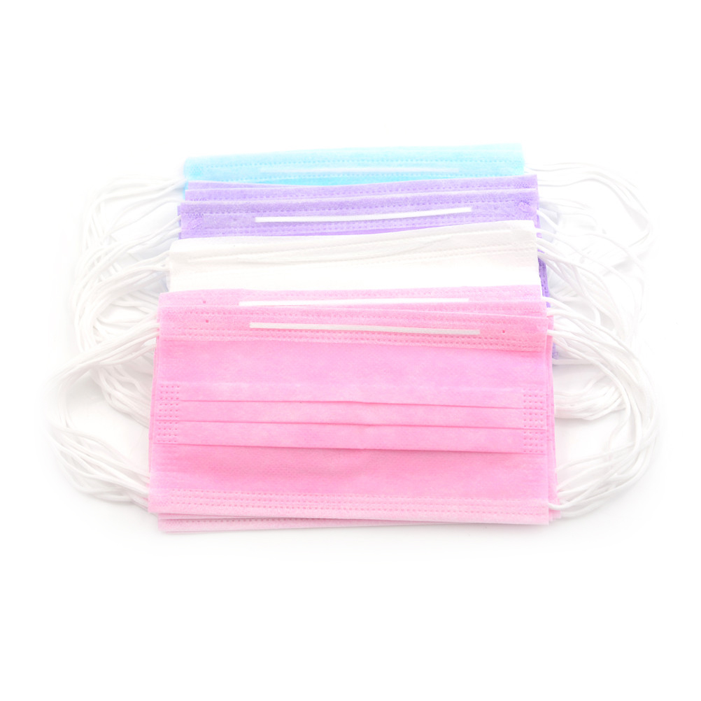 10/50Pcs 3-Ply Anti-Dust Disposable Surgical Medical Salon Earloop Face Mouth Masks White/Pink/Blue/Purple