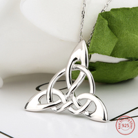 Mother's Days Silver Brand Accessories Necklaces For Irish Celtic Knot Triangle Vinta Custom 925 Silver Jewelry Chain Necklaces