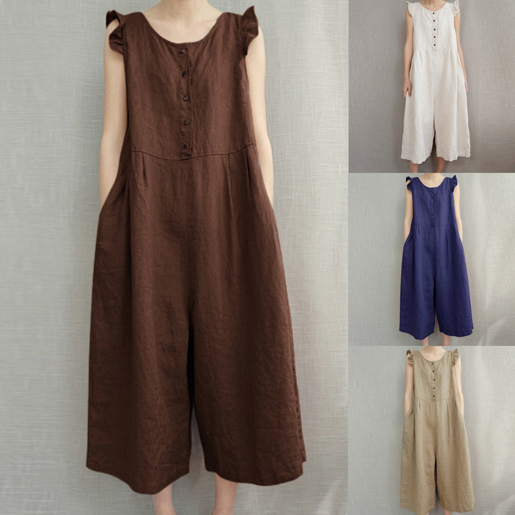 2019 Women   Jumpsuits   Casual Loose Sleeveless Rompers Cotton Linen Playsuits O Neck Belt Solid Plus Size Overalls Palazzo