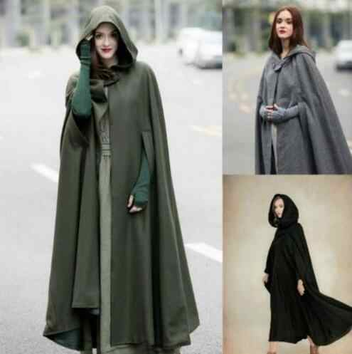 New Arrival Women Hooded Coat Hooded Cloak Hooded Cape cosplay Cloak 3 colours medieval costumes adult costume dress up 115-118