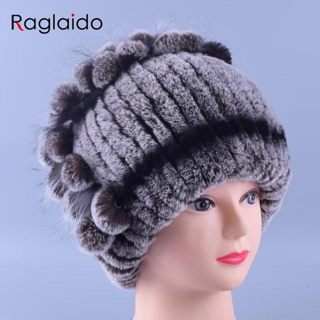 2016 Floral Beanie Hat Real Fur Mulheres Feitas À Mão Chapéus de Inverno Natural Genuine Rex Rabbit Fur Cap Headwear Quente Macio E Espesso LQ11147