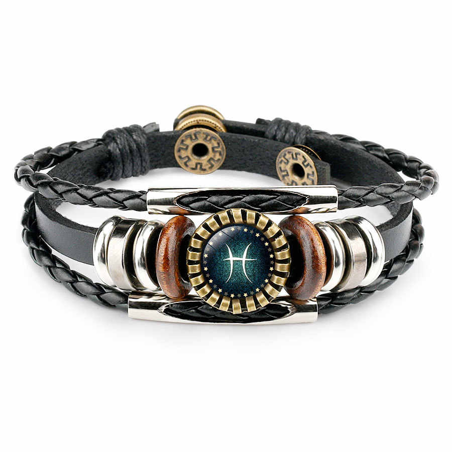 Multilayer Leather Bracelet 12 Constellation Zodiac Men's Women's Braided Bracelets Leo Scorpio Zodiac Icons Virgo Jewelry
