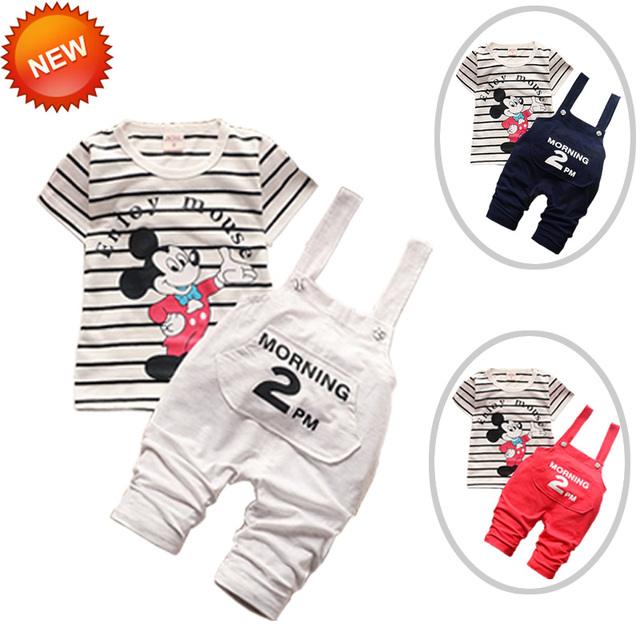 2016 Fashion Baby Girl Cotton Short Sleeve T-shirt Cartoon Jeans Costumes 3 Color Available Baby Clothes China