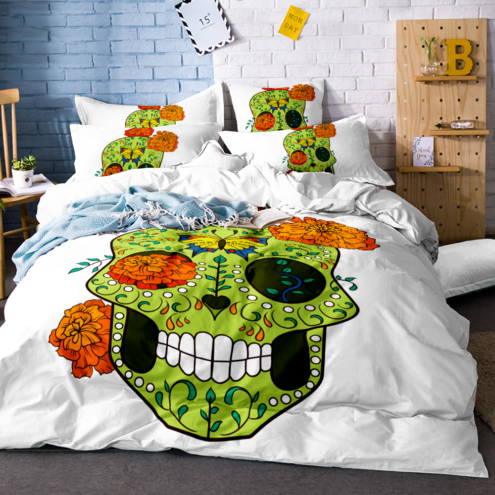 3Pcs Bedding Set Soft Quilt Cover Green Skull with hair Duvet Cover White Single Bed Cover Comfortable Queen size SJ136