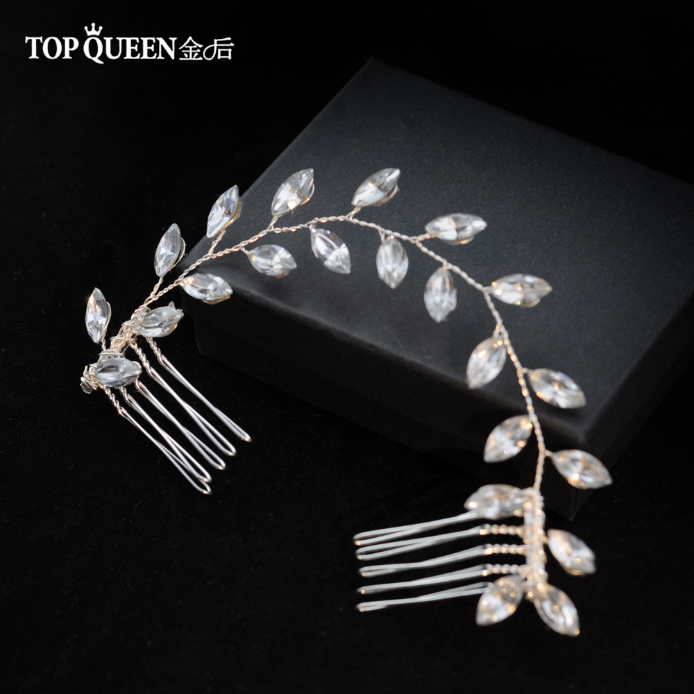 TOPQUEEN Wedding Headband Accessories Hair Vines Golden Bridal Clips Hair Comb With Crystal Headdress Bridal Headwear HP09