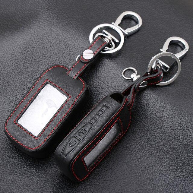 E60 E90 Leather Key Fob Cover Cases For StarLine E60 E90 E63 E93 E95 E66 E96 LCD Remote Controller KeyChain Transmitter