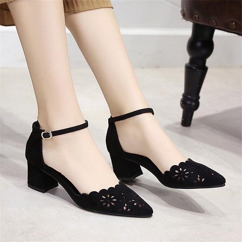 Summer Pumps Medium High Heel Pointed Toe Square Heel Sandals Hollow Out Young Lady Sweet Shoes 5.5 cm heel selens pro 100x100mm 12nd square medium