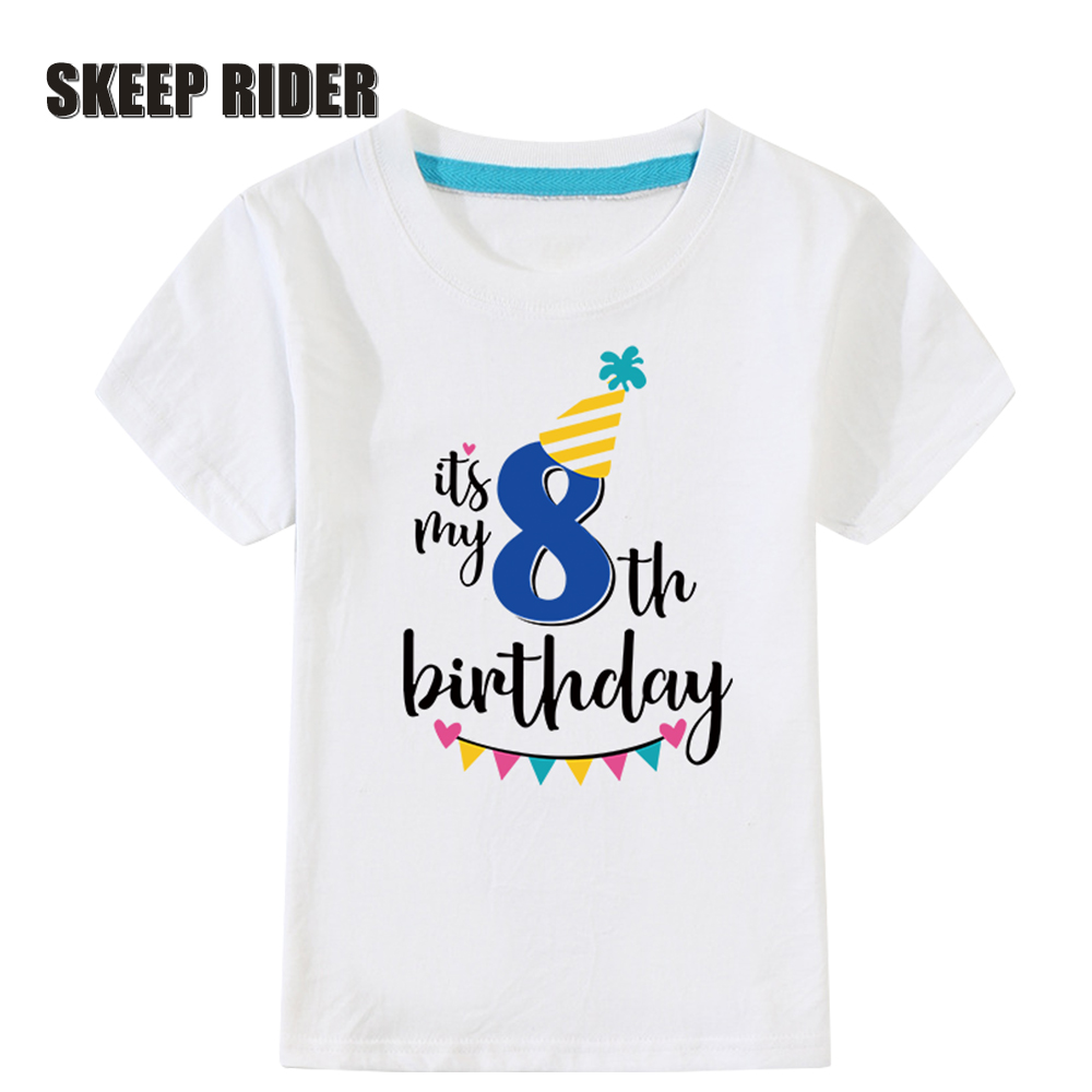 Birthday-Shirts Kids Clothes 4-Years White Boys Cotton Fashion Summer for Children