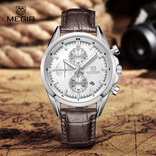 MEGIR new military fashion leather quartz watches men analog chronograph watch light luxury man watch – free shipping strap 5005