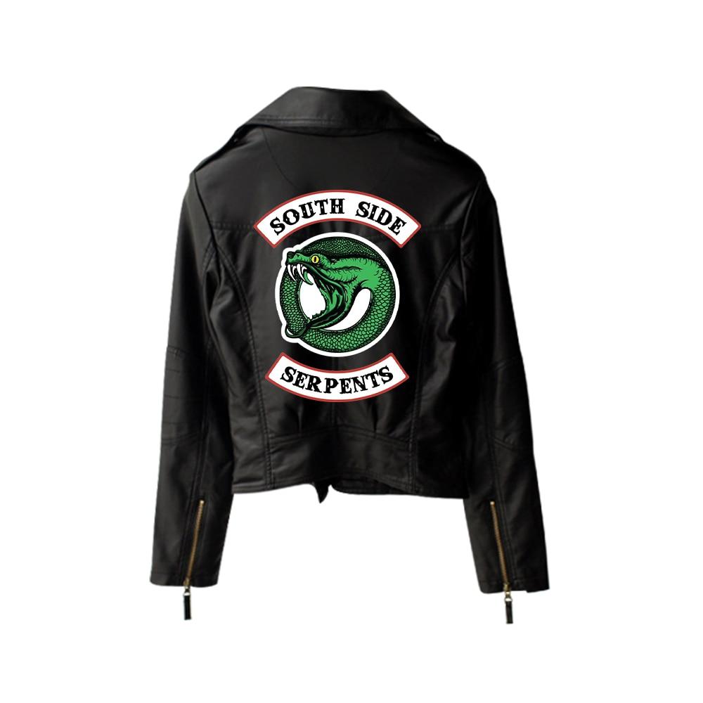 New 2019 Riverdale PU Printed Logo Southside Riverdale Serpents Jackets Women Riverdale Serpents Streetwear Leather Jacket 5