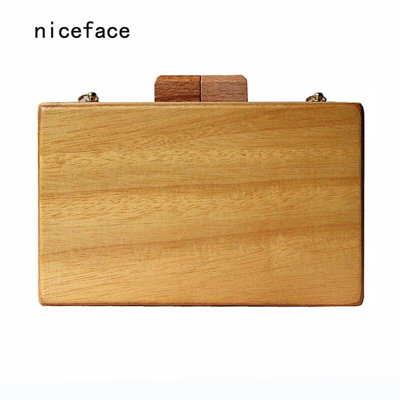 2017 marca moda Mujeres bolso de noche linda caja de madera maciza de madera car