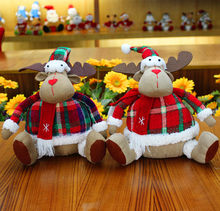 Christmas Decorations One Pair Cristmas Deer,Large Size Christmas Gift Reindeer for Kids Children,Party Ornaments Baby Doll Toys(China)