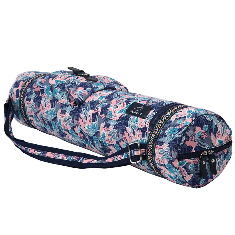 Pink Leaf Yoga Mat Bag Adjustable Drum Bag Sports Backpack Fitness Gym Shoulder Bag Women Girls Dance Pilates Pad Bags