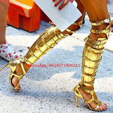 Sapato Feminino Metallic Gladiator Strappy Sandals Silver Gold Thigh High Boots Overknee High Heels Cut Outs Summer Shoes Woman