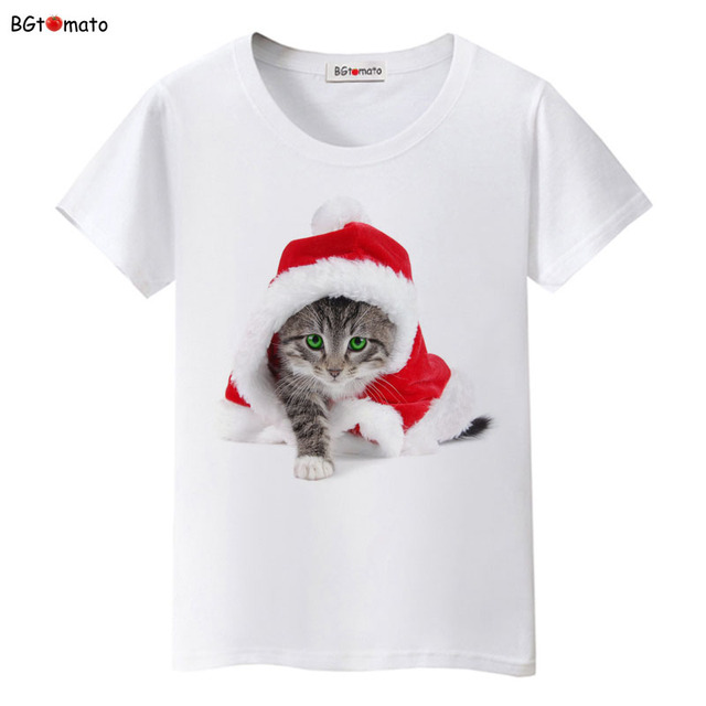 BGtomato Christmas cat t shirt women/girl favourite lovely home pets shirts Good quality brand casual shirt trend tops