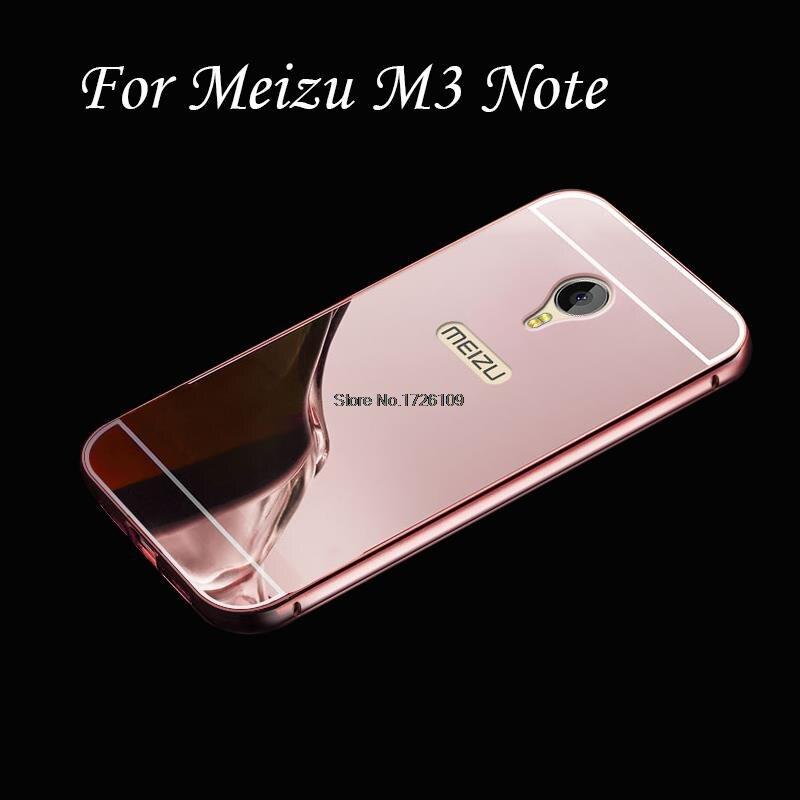 2 в 1 Алюминий металлический бампер съемный + Зеркало Жесткий чехол для Meizu M3 Note ультра тонкий Рамки Coque принципиально m3note крышка