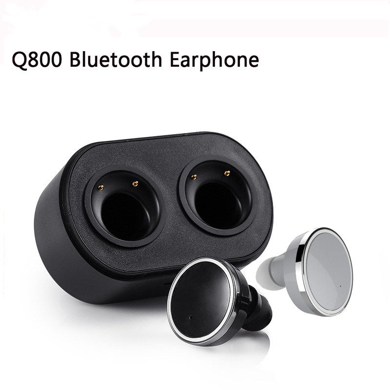 ФОТО Q800 TWS Mini Wireless Twins Bluetooth V4.1 Stereo Earpods Twins True Wireless In-ear Earbuds Earphone with Charging Case Box
