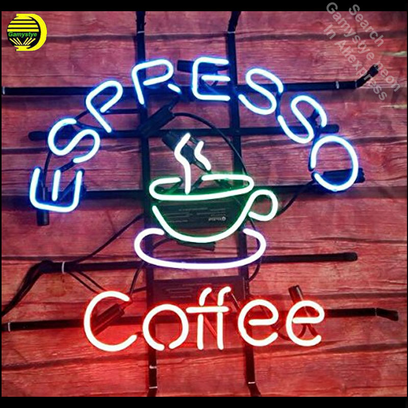 Expresso café néon enseigne néon enseigne verre Tube qualité garantie artisanat néon lumières vintage lampes néon enseigne ouverte 18x18