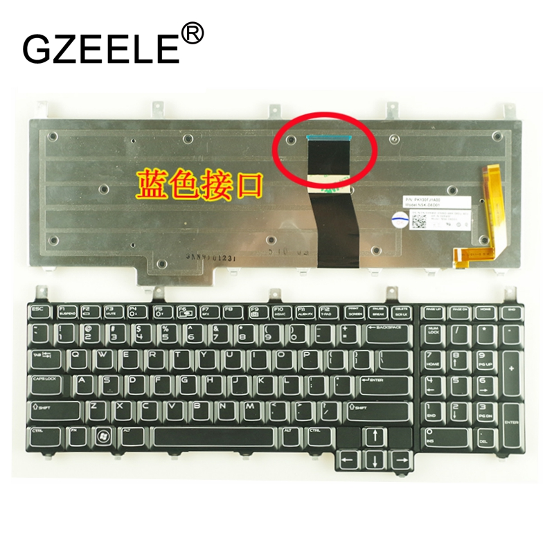 GZEELE New US/CH laptop Keyboard For DELL Alienware M17X R4 M18 R1 R2 R3 R4 with backlit 10 new original sata hard disk drive interposer connector for dell alienware r3 r4 r5 m17x interposer connector