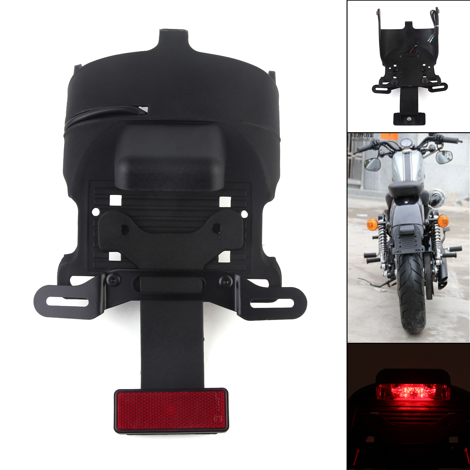Neverland Plastic Motorcycle Fender LED License Plate Light Mount Bracket For Harley Sportster 883 1200 D35 brand new silver color motortcycle accessories abs plastic led tail light fit for harley harley iron 883 xl883n xl1200n chopped