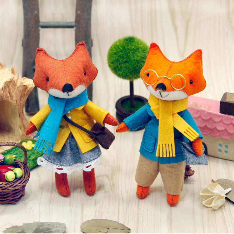 2 יח'\סט יפה שועל משפחות הרגיש DIY בובה בעבודת יד תפירת בד קרפט צעצועים לילדים מתנת עיצוב הבית הרגיש DIY חבילה