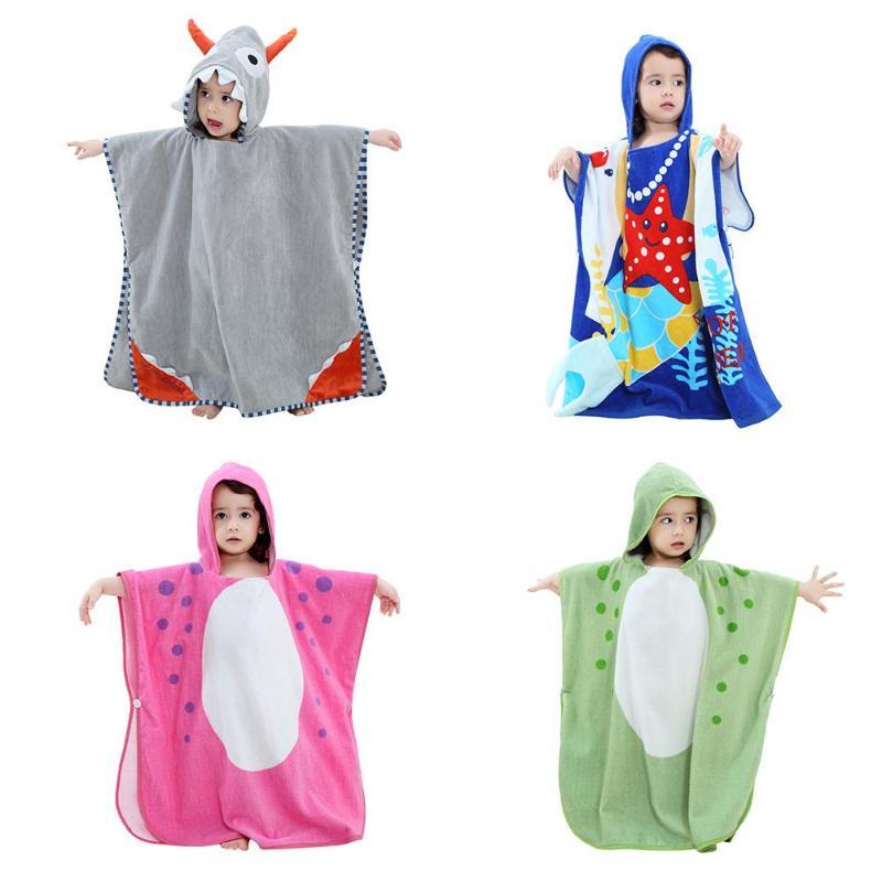 Soft Cartoon Animal Baby Hooded Bathrobe Cotton Baby Spa Towel Infants Boys Girls Pullovers Cloak Beach Bath Towel Beach Towel in Robes from Mother Kids