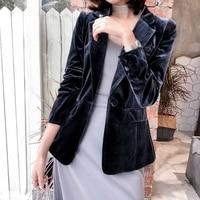 2018 Spring Autumn New Temperament Slim Pleuche Suit Jacket Women Velvet Long Blazer Jacket Smoke Ash