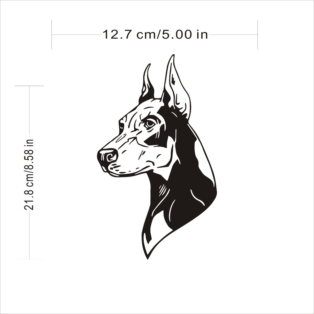 Car Body Door Window 12.7*21.8CM Doberman Pinscher Dog Sticker Funny Motor Laser Car Stickers And Decals Car Styling Accessories