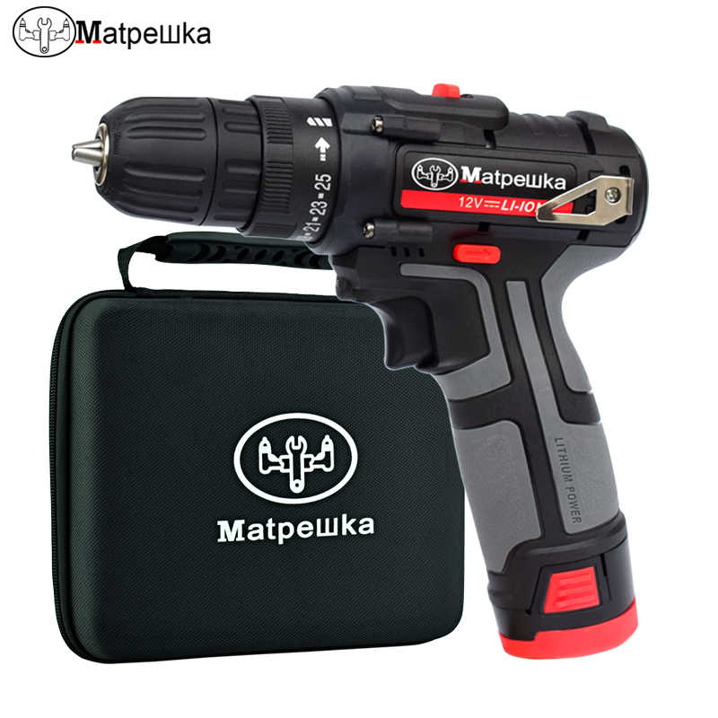12V rechargeable battery Screwdriver Electric drill charged drill electric screwdriver  lithium battery Two speeds torque drill