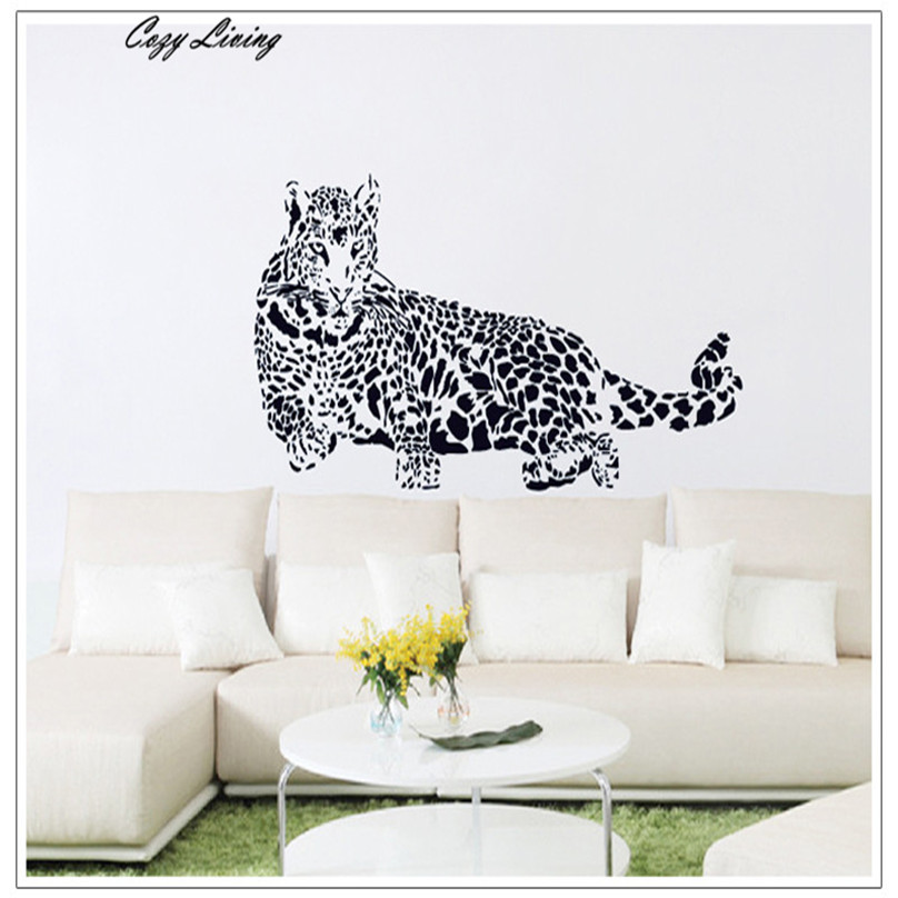 Wallpaper Sticker Bedroom 1 PC New Creative Cheetah Stickers Removable Mural PVC Personality Home Decor Mural Wholesale D29