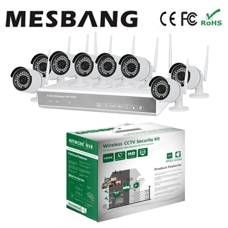 Recommend  8 channel Wifi Security Camera Kit Wireless 8ch NVR System   build in 1TB HDD hard disk Free shipping digital wireless security kit four channel available monitoring
