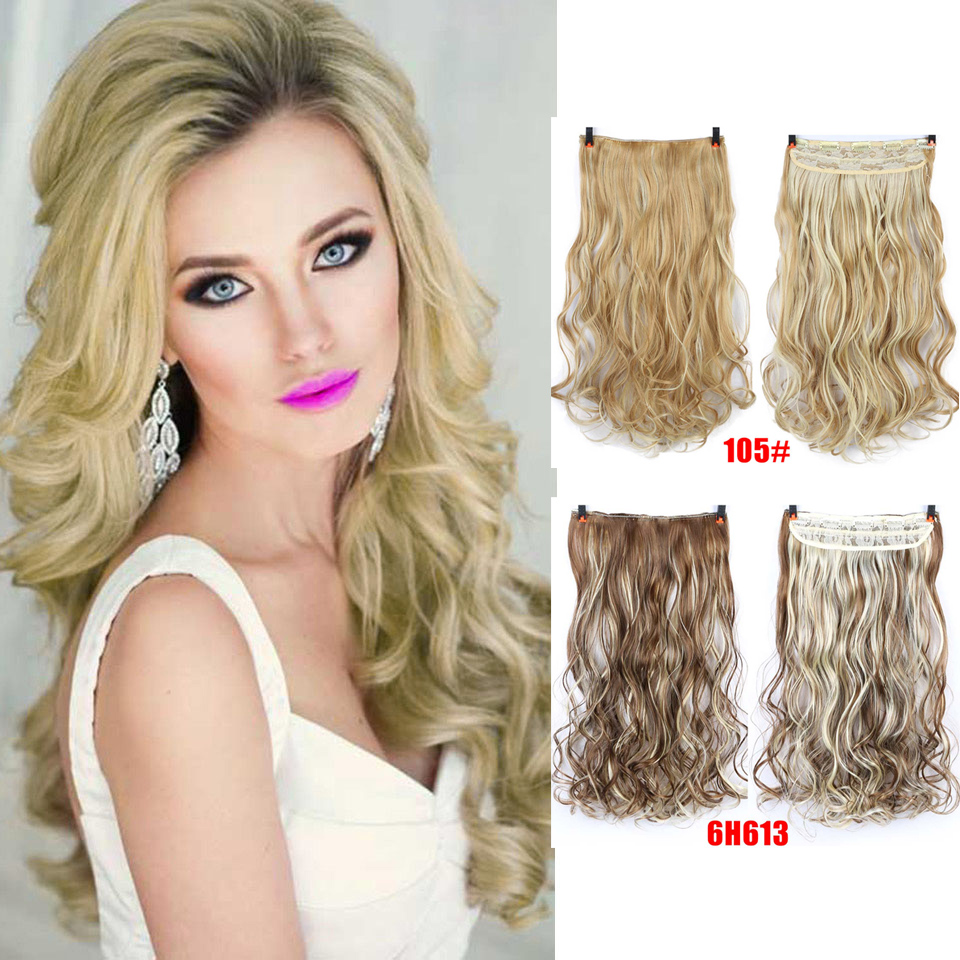 AOSIWIG 24 inch Long Wavy Clip in Synthetic Hair Extensions Heat Resistant Fiber 5 Clips one Piece 24 Colors Available