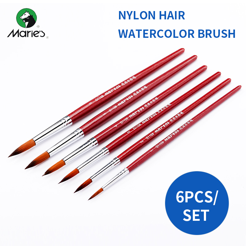 BGLN 6Pcs/set Nylon Hair Pointed Watercolor Paint Brush Set For Watercolor Oil Acrylic Painting Brush For School Art Supplies аксессуар red line usb 8 pin 2m black ут000009514