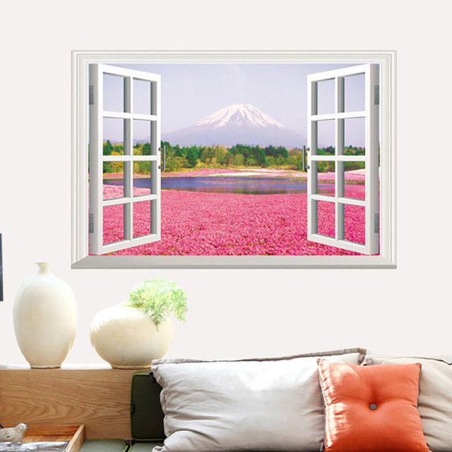 Creative Home Decor 3D Wall Stickers Fake Window Style Pink Flowers ...