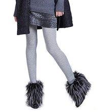 Womens 1 Pair 15cm Faux Fur Lower Leg Shoes Ankle Boots Cover black+white