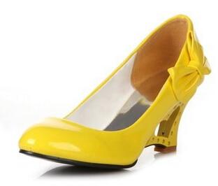 Arco Negro amarillo Primavera 2015 De Baja Otoño Alto blanco Japanned Cuñas Mujeres rojo Zapatos Boca La Dulce Tamaño El Y Solos Más Pequeño Tacón Las Swqx5vfw1
