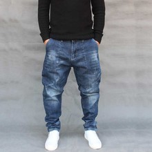 Модные шаровары, джинсы для мужчин, повседневные Хип-хоп джинсовые штаны, уличная одежда, Свободные мешковатые брюки, мужская одежда