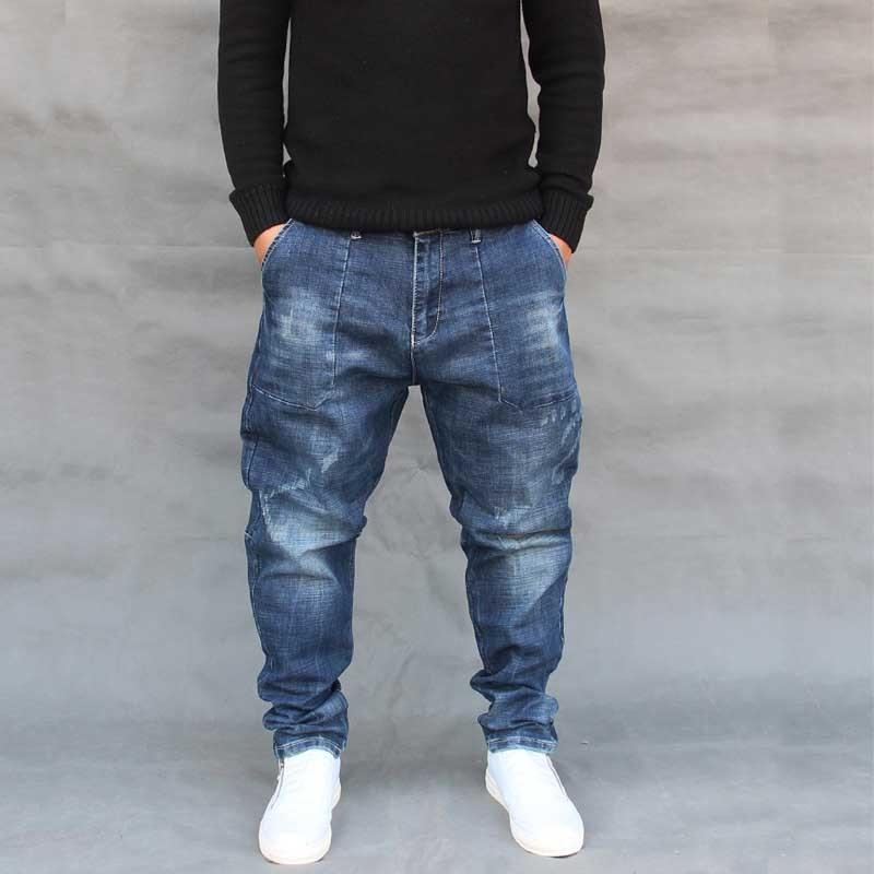 Fashion Harem Jeans Men Casual Hip Hop Denim Pants Streetwear Loose Baggy Trousers Male Clothes