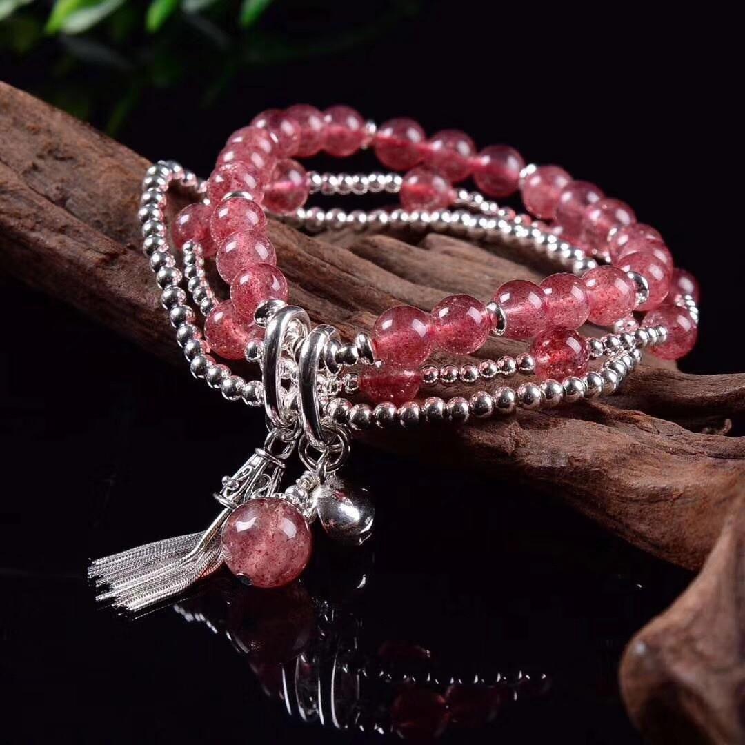 2018 nouveauté produit S925 printemps bijoux accessoires Design Original bricolage Pure à la main dame fraise cristal main chaîne