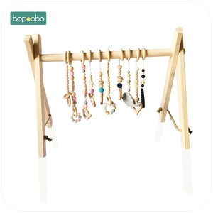 Image 4 - Bopoobo Classic Wooden Baby Gym Without Gym Toys Activity Gym Toy Accessories Montessori Rattles Nursery  Teether Shelf Portico