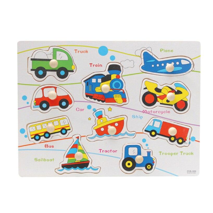 Головоломки деревянные игрушки мультфильм трафика животного Дизайн Пазлы Дети Логические Монтессори Развивающие игрушки для детей RE3