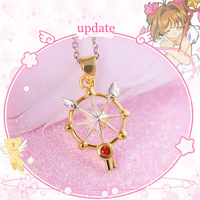 925 Silver Sakura Card Captor Necklace Wand Key Star Pendant Japanese Anime Jewelry Girl Birthday Gift
