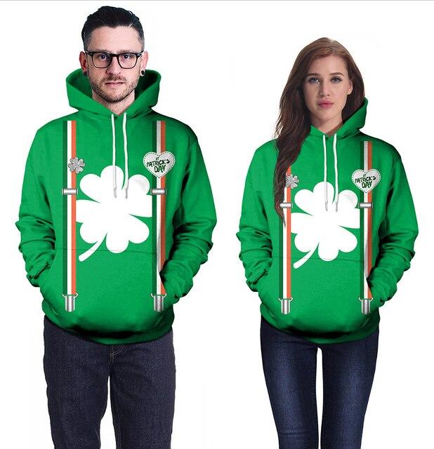 d61e5df8 Saint Patrick's Day green Lucky Four-leaf Clover 3D Print Red Lip Hoodies  Men/Women Hipster Pullover Hood Sweatshirts Jacket
