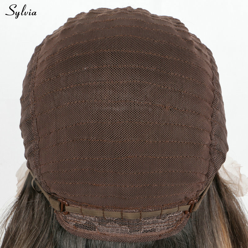Sylvia Silky Straight 1B# Synthetic Lace Front Wig Long Nature Black 18-26 Soft Middle Parting Hairstyle Heat Resistant Fiber