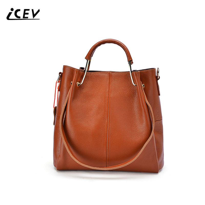 ICEV New Simple Cowhide Women Leather Handbag Genuine Leather Handbags Top Handle Bags Set Ladies High Quality Cow Leather Totes icev new korean fashion high quality simple genuine leather saddle crossbody bags for women messenger bags cow leather handbags