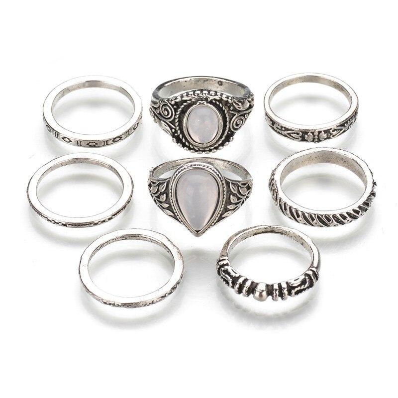 MissCyCy Vintage 8 pcs Bohemian Beach Opal Ring Set Ethnic Antique Silver Color Water Drop Midi Finger Boho Rings Set