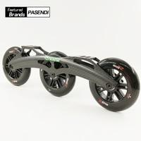 2017 Новый профессиональный Скорость катание колеса 110 мм 125 мм шасси углеродного волокна роликовые коньки обувь 3 колеса Inline ботинки большие