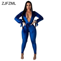 Long Puff Sleeve Sexy Velvet Jumpsuits Autumn Women Deep V Neck Backless Club Party Catsuit Casual Blue Sashes Bandage Bodysuits